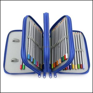 Cases Bags Supplies Office Business & Industrial72 Holders 4 Layers Handy Solid Color Square School Pencils Case Large Capacity Colored Penc
