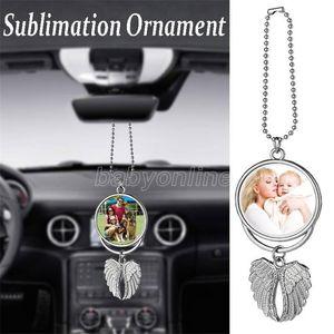 Sublimation Mirror Necklaces Blanks Pendants Sublimation Car Wings Angel Pendant Wing Rearview Ornaments Decoration Hanging Charm Big Hvjrg