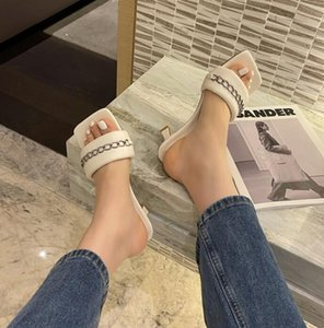 Summer Shoes For Women PU Peep Toe Thin Heel Chain Slippers Fashion Shallow Concise Leisure Metal Decoratio Solid