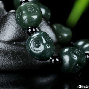 Natural Xinjiang Hetian Green Jade Monkey Head Bracelet