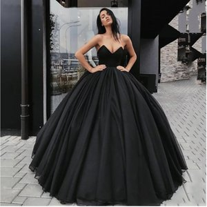 Black Ball Gown Long Prom Dresses Sexy Strapless Backless Evening Dress Party For Women 2021 Chiffon Vestido De Festa