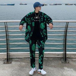 Suits Fashion Men's Printing Suit Sets Short Sleeve Jacket Casual Pants Korean Trendy Streetwear Spring Summer Clothing Man