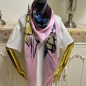 Women's scarf size 130CM-130CM 100% silk material pink color print letters flowers pattern suqare shawl scarves for women