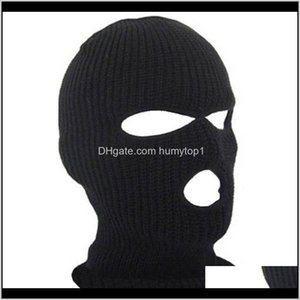 Caps Protective Gear Cycling Sports & Outdoors Drop Delivery 2021 Full Face Cover 3 Holes Balaclava Knit Winter Stretch Snow Mask Beanie Hat