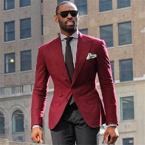 Wine Coat Men Suit 2 Pieces (Burgundy Jacket+Black Pants+Tie) Ternos Masculinos Slim Fit Wedding Suits Grooms Tuxedos Blazer