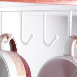 Parete appeso Armadio Organizer Scaffale per stoccaggio Scaffale 6 Ganci Cucina Coppa Portabicchieri BWE5945