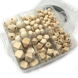 DIY Nursing Jewelry Combination Package Blending Natural Round Geometry Hexagon Wooden Beads Baby Teether Toys Set 1804 Y2