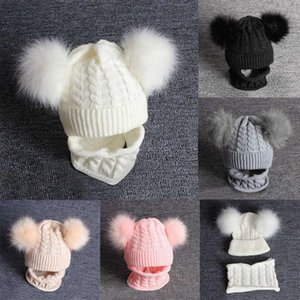 Caps & Hats 2pcs Kid Baby Knitting Wool Hemming Keep Warm Winter Hiarball Cap Hat +scarf Set Solid Color Boy Clothes Bonnet