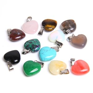 Heart shape natural stone charms pendants for DIY necklace earrings jewelry making