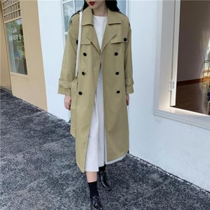 Women's Trench Coats WEIHAOBANG 2021 Spring Autumn Medium Length Solid Color Double Breasted Lapel Long Sleeve Windbreaker Cotton Coat