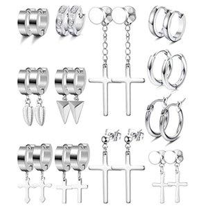 Stud 12 Pairs Of Stainless Steel Earrings For Men And Women Huggie Hoop Earring Set Hinge Ring Pendant Cross