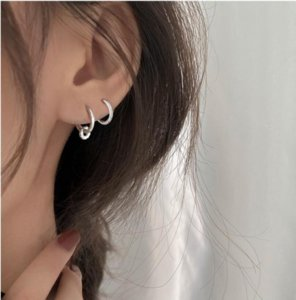 925 Sterling Silver Piercing Crystal Round Bead Charm Hoop Earring For Women Party Wedding Earing Jewelry eh777