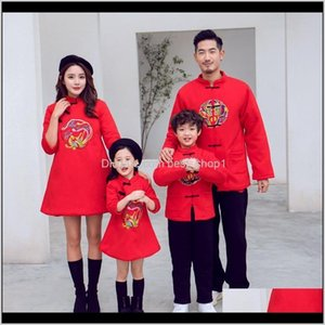 Outfits Baby Clothing Baby, Kids & Maternity Drop Delivery 2021 Style Year Family Matching Clothes Girls Embroidered Cheongsam Dress Autumn W