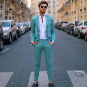 Handsome Teal Slim Fit Mens Prom Suits Notched Lapel Groomsmen Tux Beach Wedding Tuxedos For Men Blazers One Button Formal Suit1