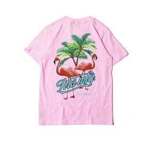 T-Shirt Männer Mode Marke Palm Baum Flamingo Illustration T-Shirt Neue Kurzarm