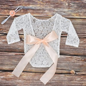 Newborn Baby Photography Props Clothes Bodysuits Cute Lovely Lace Bow Toddler Baby Photo Clothing+Hair Band 2Pcs Set Costumes 910 Y2