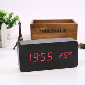 Alarm Clock LED Digital Wooden Watch Table Voice Control USB AAA Powered Electronic Home Decor