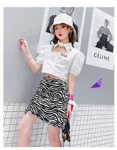 Girls lapel hollow puff sleeve shirt Summer Children French style short shirts Designer Kids Zebra Skirt A6465