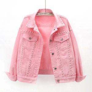 Giacche da donna 2021 primavera moda rosa bianco giacca giacca cappotto donna studente capostalino chaqueta mujer allentato brevi jeans jeans femminile