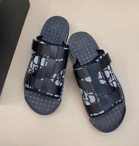 Moda Erkekler Siyah Alfa Sandal Oblique Jakarlı Yaz Erkekler Terlik Naylon Bantları Rahat Kauçuk Sole Scuffs EUR Boyutu 38-45