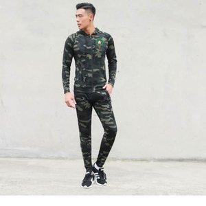 Marocco Футбольные наборы молния с капюшоном Joggina мужская армия зеленый бегущий костюм устроенный полный боток Jogger спортивная мужская одежда модная одежда