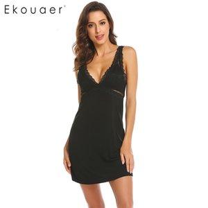 Ekouaer sexy camisón ropa de dormir encaje lencería mujeres con cuello en v backless babydoll nightgowns noche camisa vestido femenino ropa S923