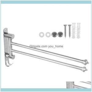 Racks Hardware Bath Home & Gardenstainless Steel Organizer Bar 2 Arms Wall Mounted Towel Holder With Crown Shape End Bathroom Swivel Rack Dr