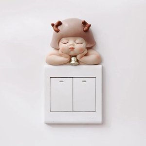 Wall Stickers 1pc 3d Stereo Resin Figurine Cute Baby Wizard Switch Sticker Home Decoration Decor Socket Light Hanging Craft