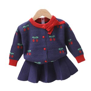 Girls Sweater Sets Kids Clothing Baby Clothes Outfits Autumn Winter Cotton Knitting Patterns Cardigan Coat Pleated Skirts 2Pcs B8343