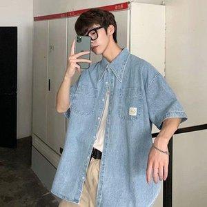 Neploha мужская с коротким рукавом джинсовые куртки 2021 мода женщины рубашки повседневные