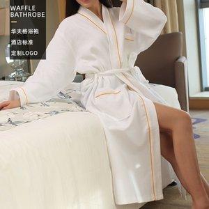 Bathrobe Hotel Pure Cotton White Waffle Collar Cardigan Beauty Salon Bathrobe