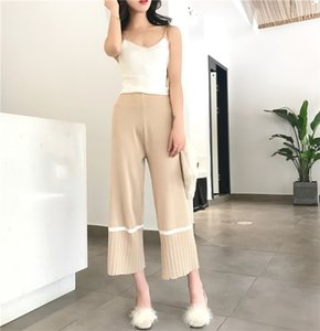Amolapha Women Knitted Tank Tops+Pants 2PCS Set Knitting Casual Camisole Vest Jumper Tops+Pant Knitting Clothing Sets