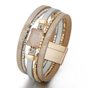 Charm Bracelets Fashion Multi-layer Woven Ladies Bracelet Pu Leather Magnetic Buckle 9 Jewelry Designs Beaded Girl Gifts 2021 Style