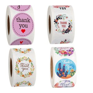 2.5cm 1inch Thank You Adhesive Stickers 500 Pcs Roll Handmade Crafts Decoration Cake Baking Bag Seal