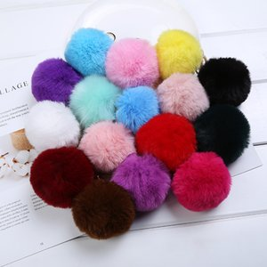 Party Favor 8cm Imitate Rabbit Fur Ball Keychain Car Handbag Keychains Decoration Fluffy Faux Key Ring Bag Accessories