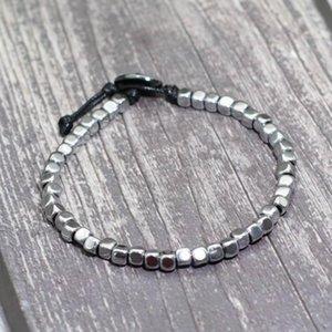 Charm Bracelets Ethnic Handmade 4mm Square Hematite Bracelet Hand Braided Adjustable Braclet For Men Women Friend Gift Jewelry
