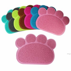 30cm x 40cm Paw Shape Dog Cat Feeding Mat Pad Pet Dish Bowl Food Water Feed Placemat Table PVC Mats BWA5255