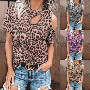 2021 spring and summer top off shoulder leopard print hollow out sexy short sleeve women's Fashion T-shirt