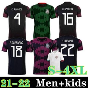 Размер S-4XL Мексика Футбол Джетки Copa America CamiSetas 21 22 Вентиляторы Версия Chicharito Лозано Dos Santos 2021 Футбольные футболки Мужчины + Дети набора Blanco