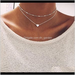Necklaces Pendants Drop Delivery 2021 Fashion Girl Heart Bib Statement Simplicity Choker Gold Chain Pendant Necklace Jewelry For Women 5960 1