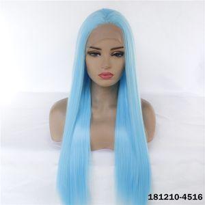 Синтетические LaceFrontal Fright Симулятор человеческих волос кружева передних париков 12 ~ 26 дюймов синий Perruques de Chevaux Hegives Pelucas 181210-4516
