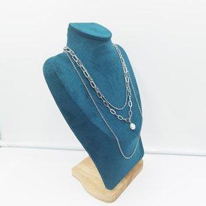 Collier de cou de cou en couches Pendentif perle Pendentif multicouche chaîne de superposition de la chaîne d'argent plaqué argent pour femmes filles