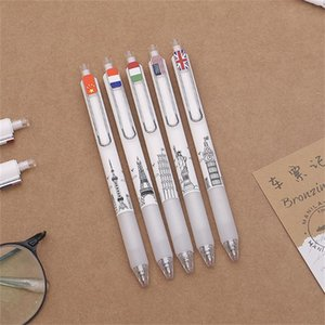 Gel Pens 5pcs set World City Symbol Building Press Pen 0.5MM Black Signature Metal Clip School Supplies Office Stationery