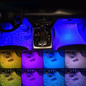 4pcs Car Foot Lamp Ambient Light With USB Wireless Remote RGB Music Control Multiple Modes Auto Interior Decorative Neon Lights