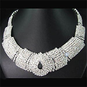 Bridal Black Diamante Crystal Elegant Necklace Earrings Jewelry Set for Wedding Party