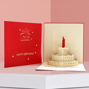 Greeting Cards Well-designed 3D Happy Birthday Cake Card Handmade Paper Gift With Envelope Creativity Origami Decor