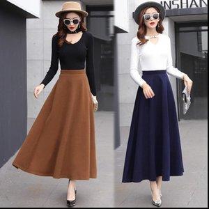 Hayblst Falda de mujer Marca Mujer Otoño Invierno Faldas Plus Tamaño Ropa Cintura Estilo Coreano Largo Ropa Lana Paño de lana