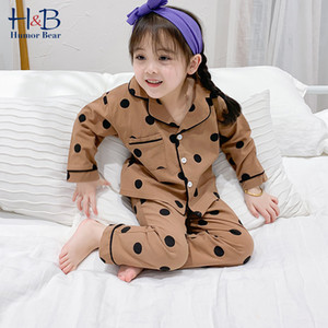 Autumn Children Pajamas 2pcs Set Polka Dot Printed Long Sleeve Shirts+Pants Toddler Kids Cotton Home wear 210507