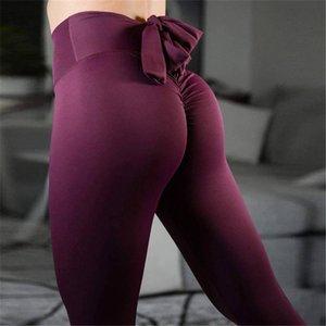 Mesdames Solid Bowknot Tracksuits Ascenseur Hip High Taille Fitness Solitis Slimastic Slim Yoga Vêtements Collants Collants Gym Port