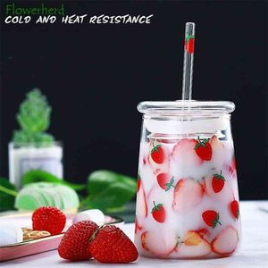 Large Capacity Water Bottle with Straw Cute Water Bottle Glass Strawberry Heat-resistant Cup with Lid Glass Bottle Drinkware 210409